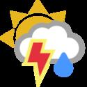 Parţial înnourat, ploaie cu descărcări electrice