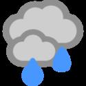 Mulet och regnskurar