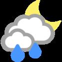 Wolkig und Regenschauer