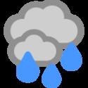 Bedeckt und Regen