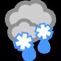 Bedeckt und Nassschneefall