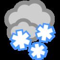 Bedeckt und Schneefall