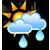 Melko pilvistä, ajoittaista sadetta
