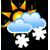 Melko pilvistä, ajoittaista lumisadetta