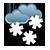 Pilvistä, runsasta lumisadetta