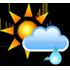 Puolipilvistä, vähäistä sadetta